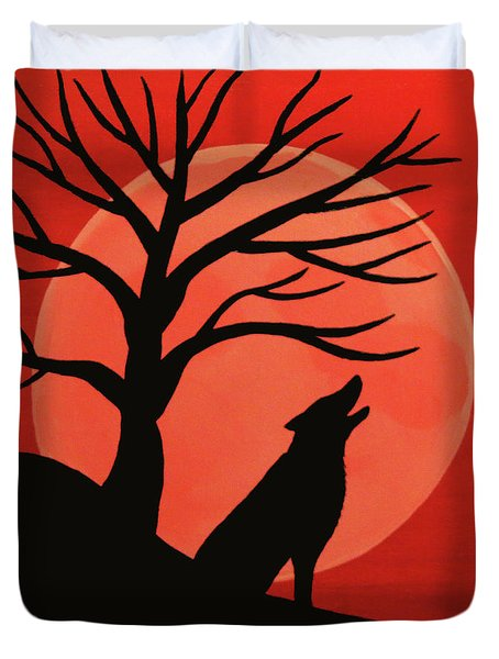 Spooky Wolf Tree Duvet Cover