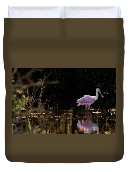 Spoonbill Fishing For Supper Duvet Cover