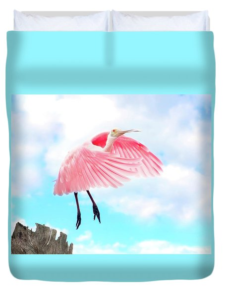 Spoonbill Launch Duvet Cover by Mark Andrew Thomas
