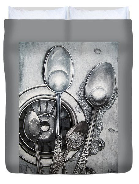 Spoons And Stainless Steel Realistic Still Life Painting Duvet Cover
