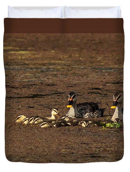 Spot Billed Duck Family  Duvet Cover