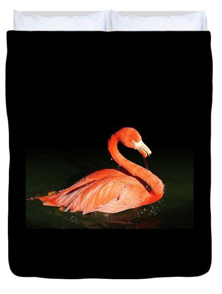 Spotlight On A Bathing Flamingo Duvet Cover
