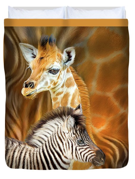 Duvet Cover featuring the mixed media Spots And Stripes - Giraffe And Zebra by Carol Cavalaris