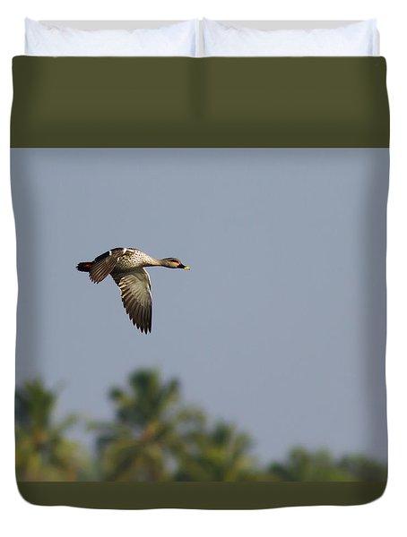Spot-billed Duck - In Flight Duvet Cover by Ramabhadran Thirupattur