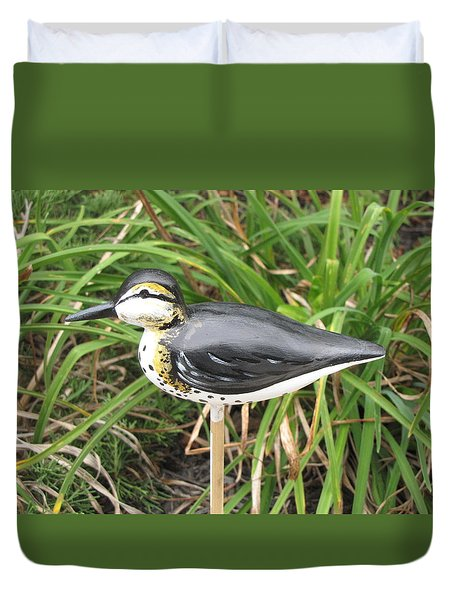 Duvet Cover featuring the sculpture Spotted Sandpiper  by Kevin F Heuman