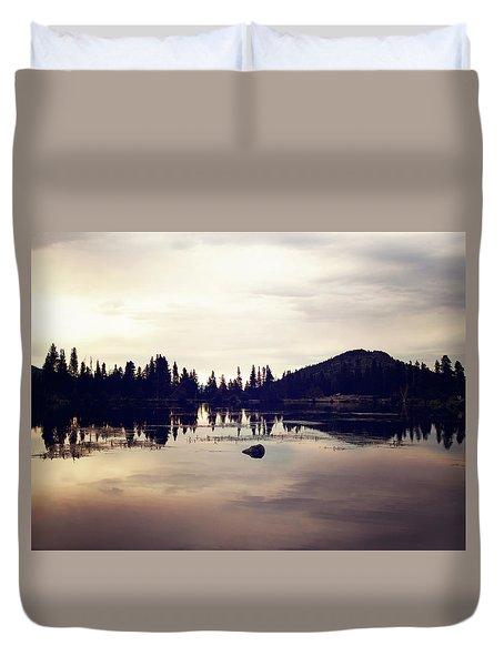 Sprague Lake At Sunset Duvet Cover