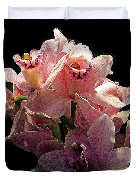 Spray Of Pink Orchids Duvet Cover