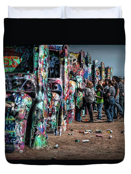Duvet Cover featuring the photograph Spray Paint Fun At Cadillac Ranch by Randall Nyhof
