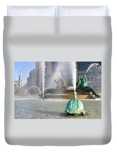 Duvet Cover featuring the photograph Spraying Water At Swann Fountain - Philadelphia by Bill Cannon
