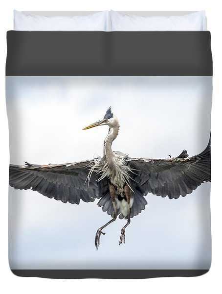 Spread Winged Heron Duvet Cover