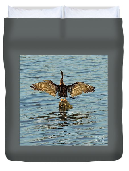 Duvet Cover featuring the photograph Spreading My Wings by Mim White