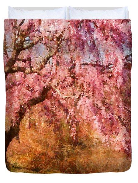 Spring - Sakura - A Beautiful Spring Day  Duvet Cover by Mike Savad