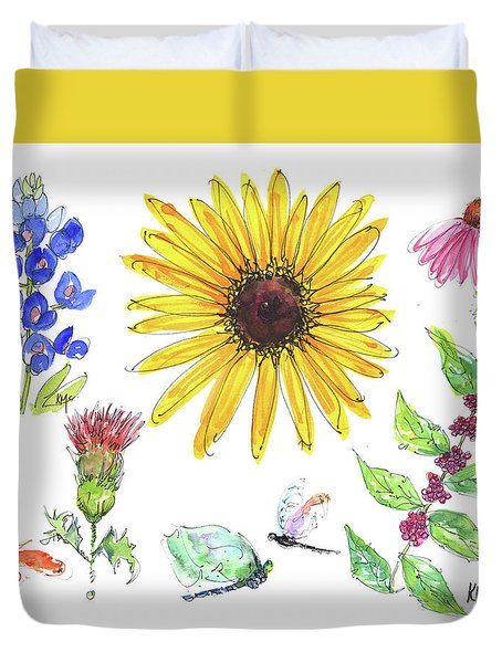 Spring 2017 Medley Watercolor Art By Kmcelwaine Duvet Cover by Kathleen McElwaine