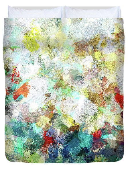Duvet Cover featuring the painting Spring Abstract Art / Vivid Colors by Ayse Deniz