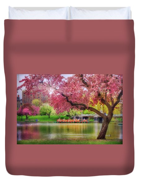 Duvet Cover featuring the photograph Spring Afternoon In The Boston Public Garden - Boston Swan Boats by Joann Vitali