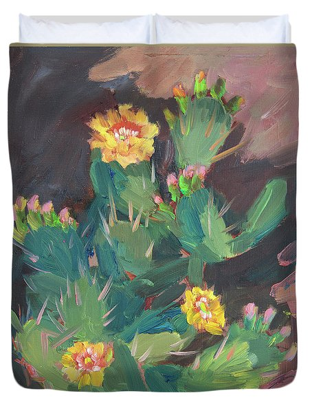 Duvet Cover featuring the painting Spring And Prickly Burst Cactus by Diane McClary
