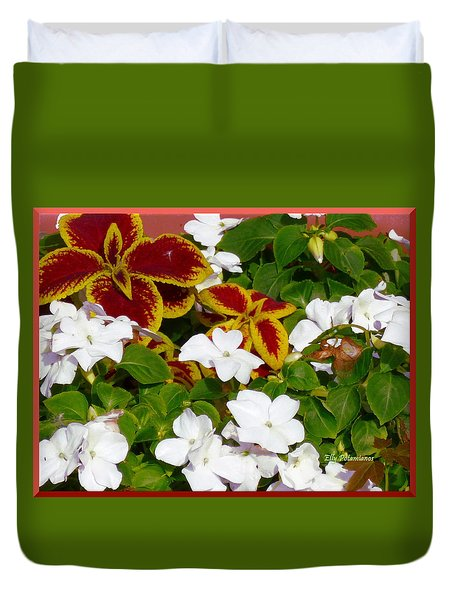 Duvet Cover featuring the pyrography Spring Annuals by Elly Potamianos
