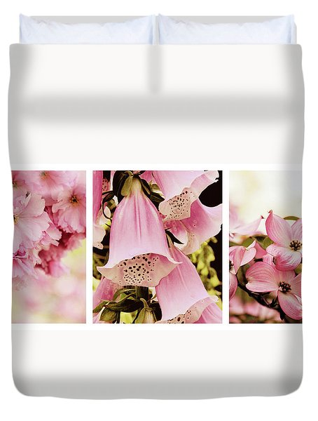 Duvet Cover featuring the photograph Spring Assemblage Triptych by Jessica Jenney