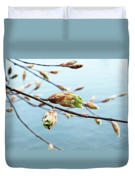 Spring At The Lake Duvet Cover by Karen Stahlros