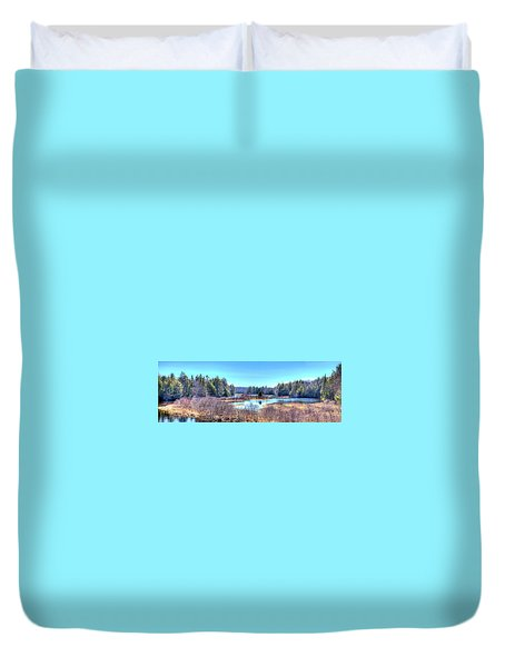 Duvet Cover featuring the photograph Spring Scene At The Tobie Trail Bridge by David Patterson