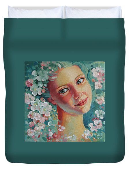 Duvet Cover featuring the painting Spring B by Elena Oleniuc