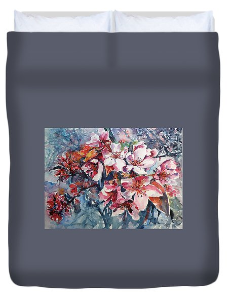 Duvet Cover featuring the painting Spring Beauty by Kovacs Anna Brigitta
