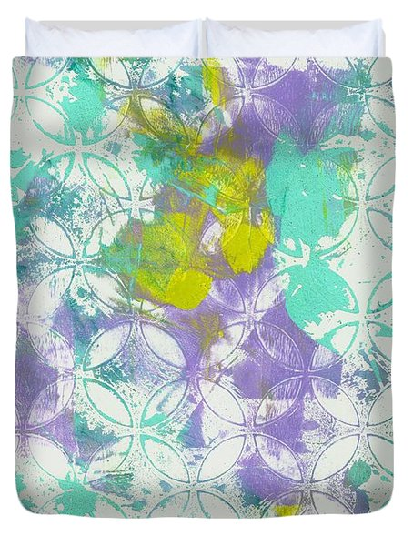 Duvet Cover featuring the mixed media Spring Begins by Lisa Noneman