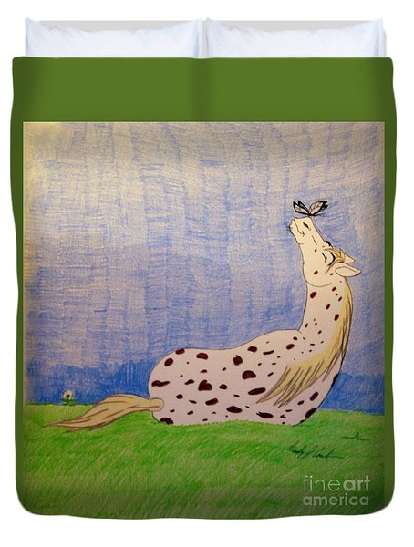 Duvet Cover featuring the drawing Spring Bliss by Wendy Coulson