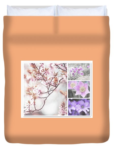 Duvet Cover featuring the photograph Spring Bloom Collage 1. Shabby Chic Collection by Jenny Rainbow