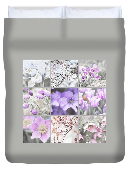 Duvet Cover featuring the photograph Spring Bloom Collage. Shabby Chic Collection by Jenny Rainbow
