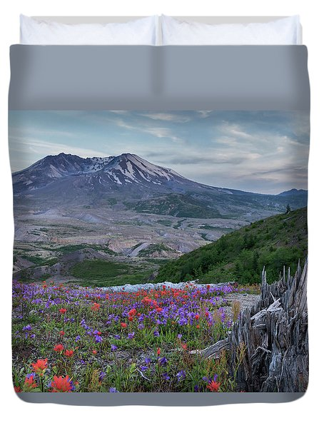 Spring Bloom Mt St Helens Duvet Cover
