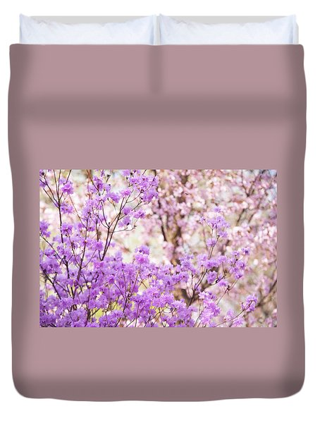 Duvet Cover featuring the photograph Spring Bloom Of Rhododendron  by Jenny Rainbow