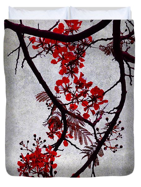 Spring Bloosom In Maldives. Flamboyant Tree II. Japanese Style Duvet Cover