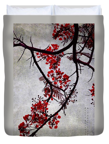 Spring Bloosom In Maldives. Flamboyant Tree II. Japanese Style Duvet Cover by Jenny Rainbow