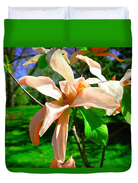Duvet Cover featuring the photograph Spring Blossom Open Wide by Jeff Swan