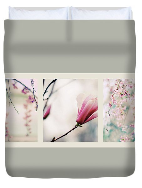 Duvet Cover featuring the photograph Spring Blossom Triptych by Jessica Jenney