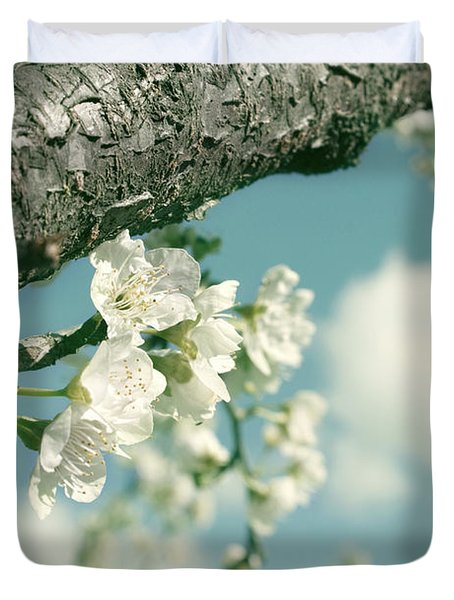 Duvet Cover featuring the photograph Spring Blossoms And Puffy Clouds by Cindy Garber Iverson