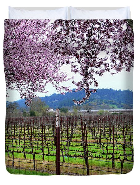 Spring Blossoms Near Calistoga Duvet Cover by Charlene Mitchell
