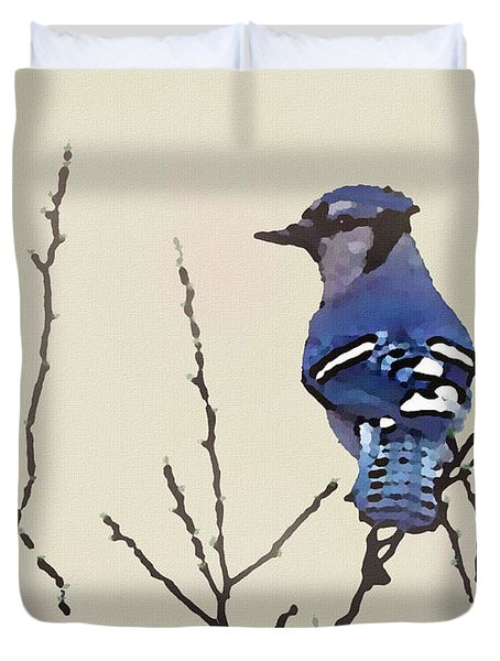 Duvet Cover featuring the digital art Spring Bluejay by Shelli Fitzpatrick