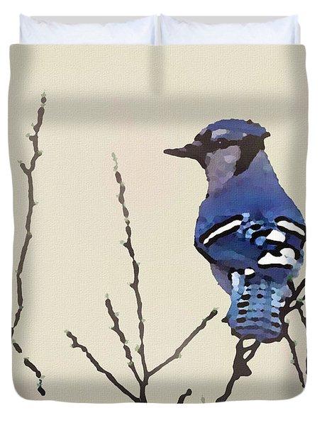 Spring Bluejay Duvet Cover