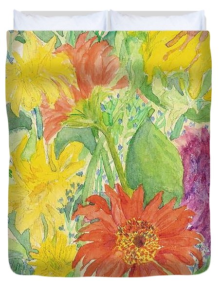 Duvet Cover featuring the painting Spring Bouquet  by Vicki  Housel