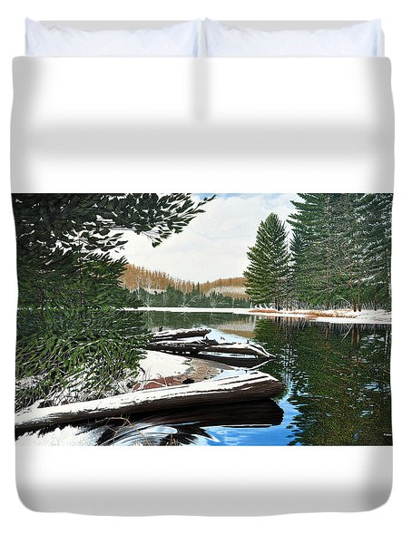 Duvet Cover featuring the painting Spring Breakup by Kenneth M Kirsch