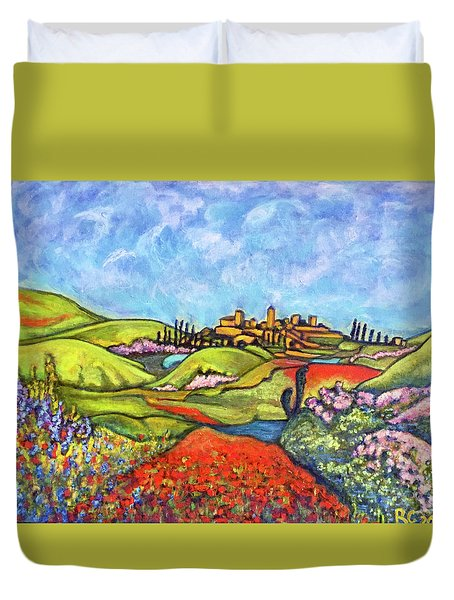 Duvet Cover featuring the painting Spring Breeze by Rae Chichilnitsky