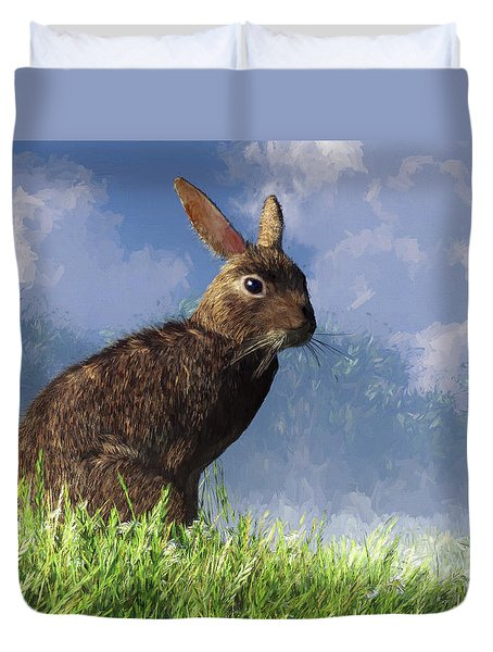 Duvet Cover featuring the digital art Spring Bunny by Daniel Eskridge