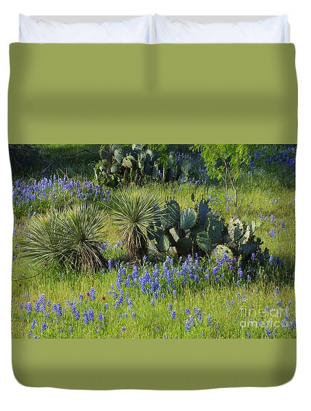 Spring Cactus, Yucca And Blue Bonnets Duvet Cover
