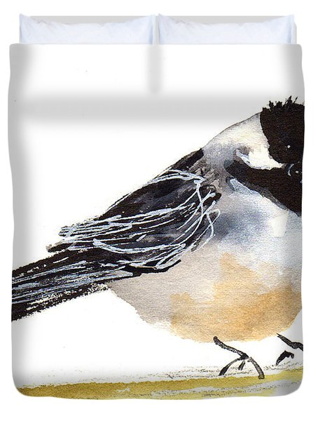 My Little Chickadee Bird Art Watercolor And Gouache And Ink Painting By Kmcelwaine Duvet Cover