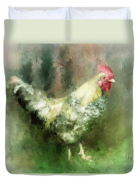 Duvet Cover featuring the digital art Spring Chicken by Lois Bryan