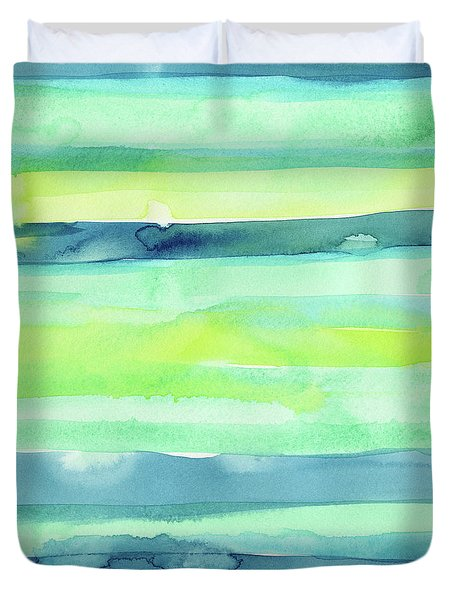 Spring Colors Pattern Horizontal Stripes Duvet Cover