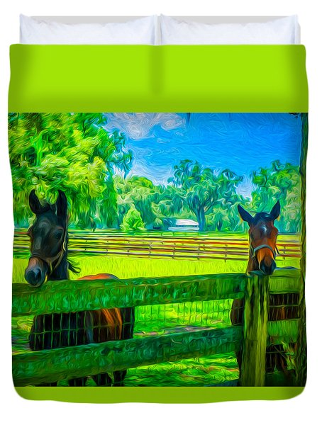 Duvet Cover featuring the painting Spring Colts by Louis Ferreira