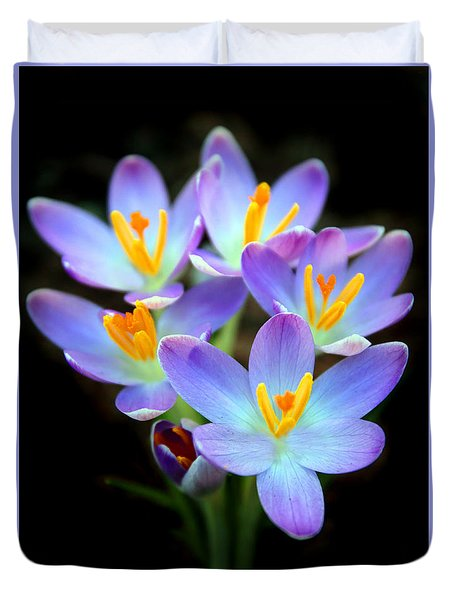 Duvet Cover featuring the photograph Spring Crocus by Jessica Jenney